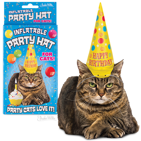 Inflatable Party Hat For Cats Archie McPhee