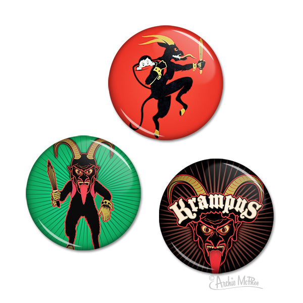 Krampus Christmas Buttons