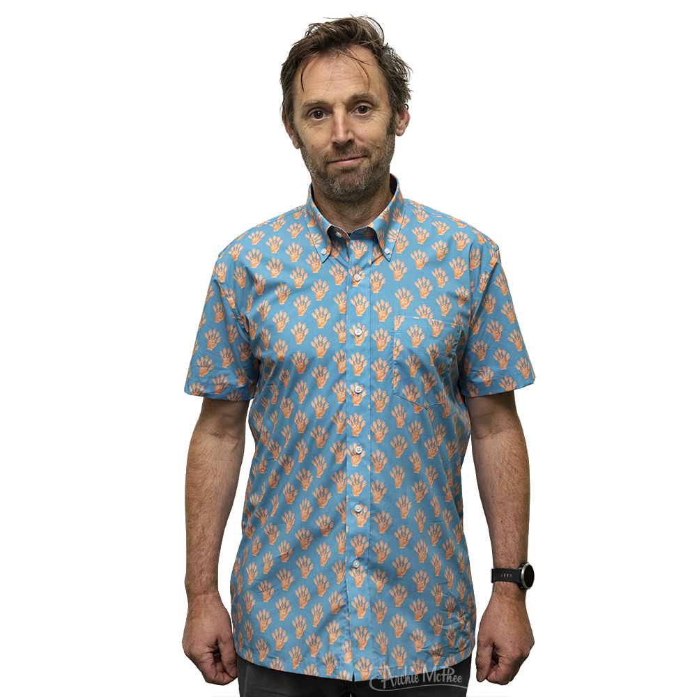 Finger Hand Button Down Short Sleeve Shirt