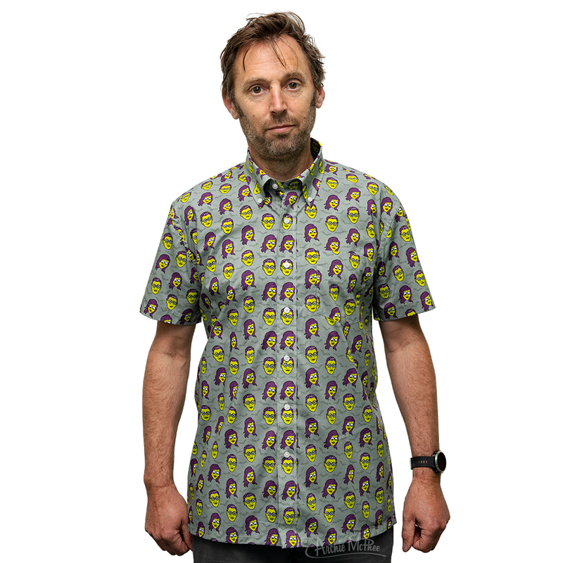 Monster Girl and Guy Button Down Short Sleeve Shirt