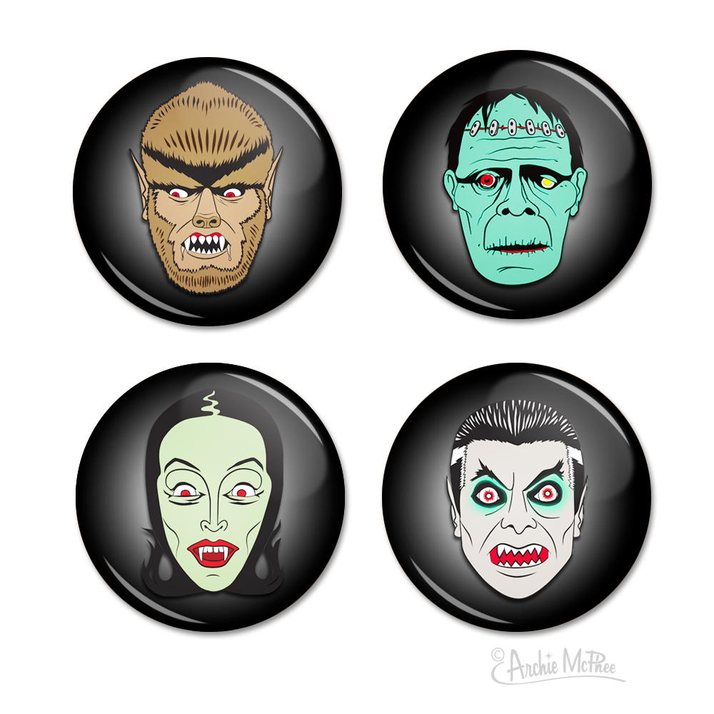 Monster Buttons - Set of Four
