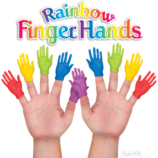 Rainbow Finger Hands - Set of 10