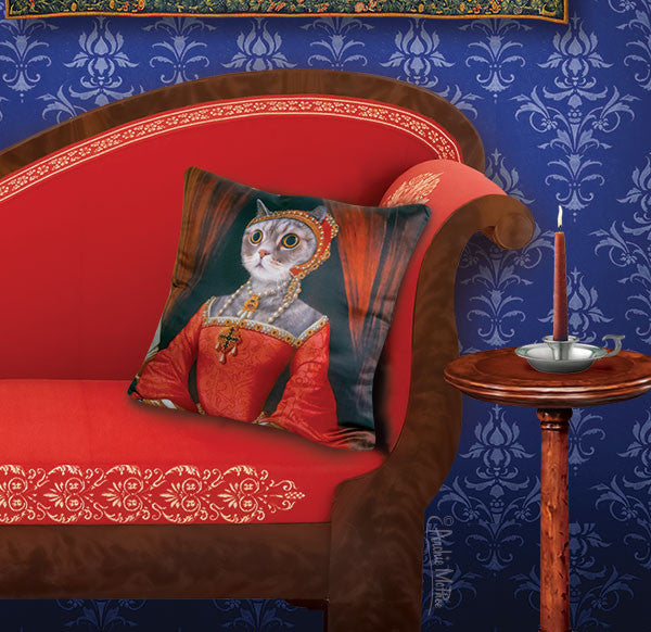 Renaissance Kitty Pillow Cover-Archie McPhee