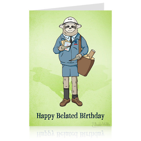 Sloth Belated Birthday Card