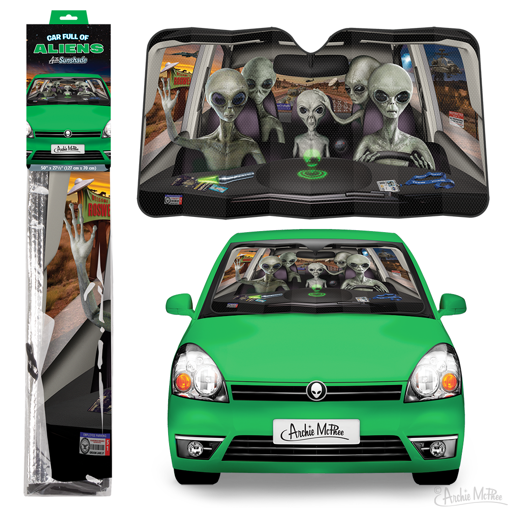 Car Full of Aliens Auto Sunshade
