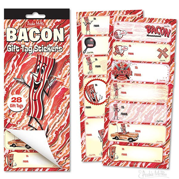 Bacon Gift Tag Stickers - Archie McPhee