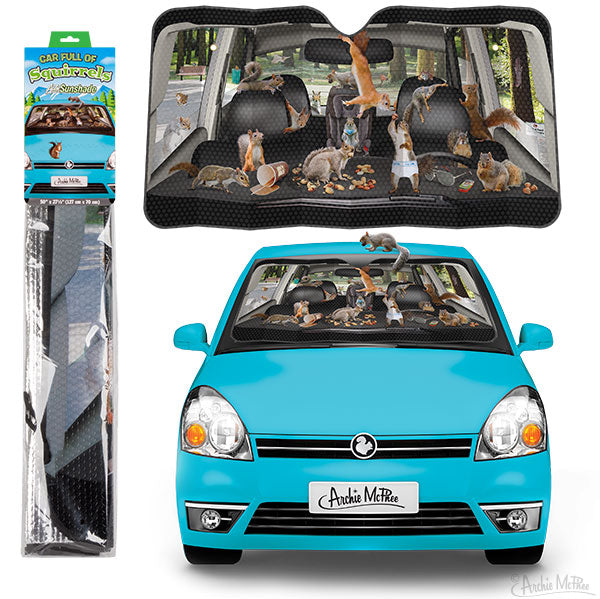 Car Full of Squirrels Auto Sunshade-Archie McPhee
