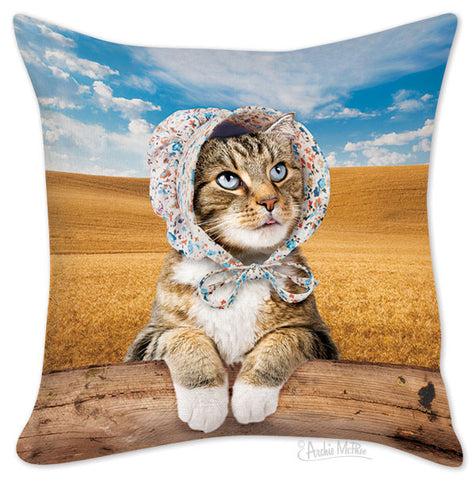 Cat in Bonnet Pillow Cover