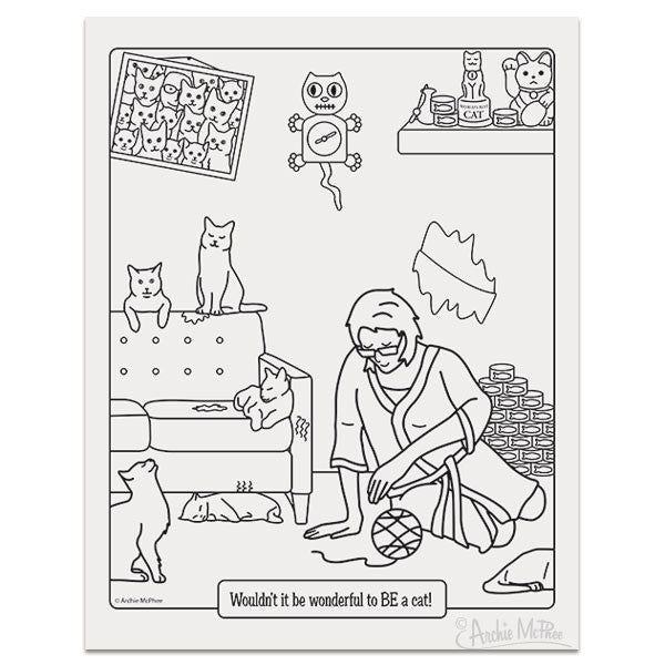 crazy cat lady coloring book archie mcphee