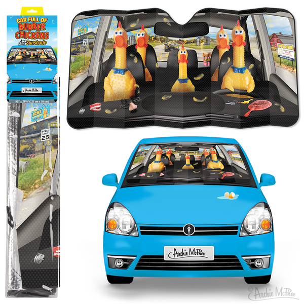Car Full Of Rubber Chickens Auto Sunshade Archie Mcphee