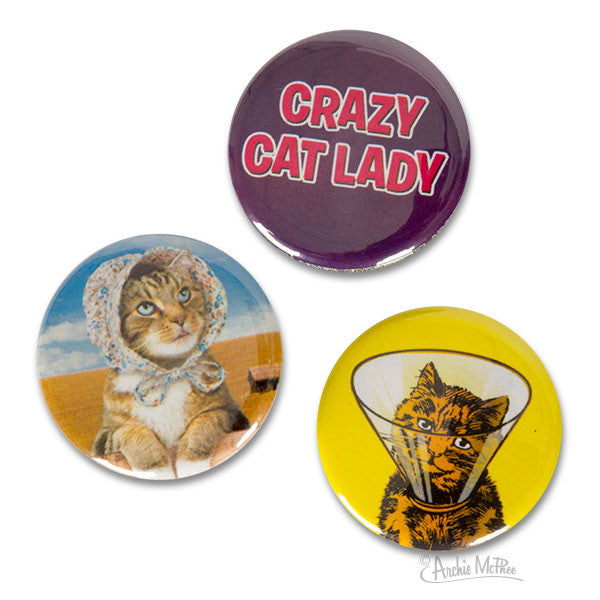 Crazy Cat Lady Buttons-Archie McPhee