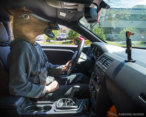 Creepy Horse Man Dashboard Wiggler