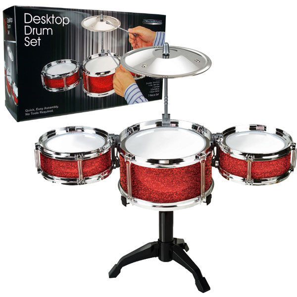 desktop drum set archie mcphee co. Black Bedroom Furniture Sets. Home Design Ideas