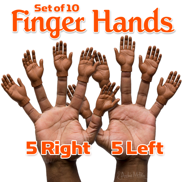 Finger Hands Dark Skin Tone - Set of 10