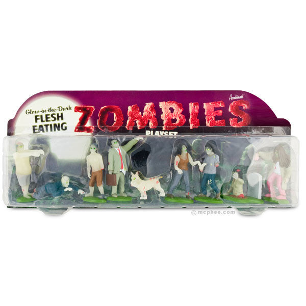 Glow in the Dark Zombies Play Set - Archie McPhee - 2