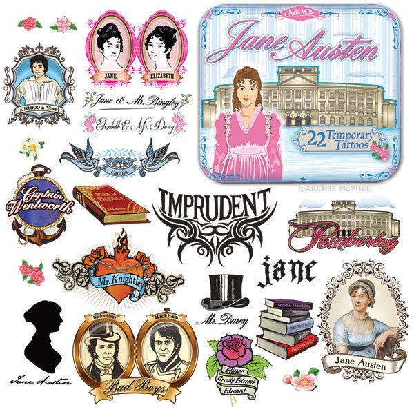 Jane Austen Tattoos - Archie McPhee - 1