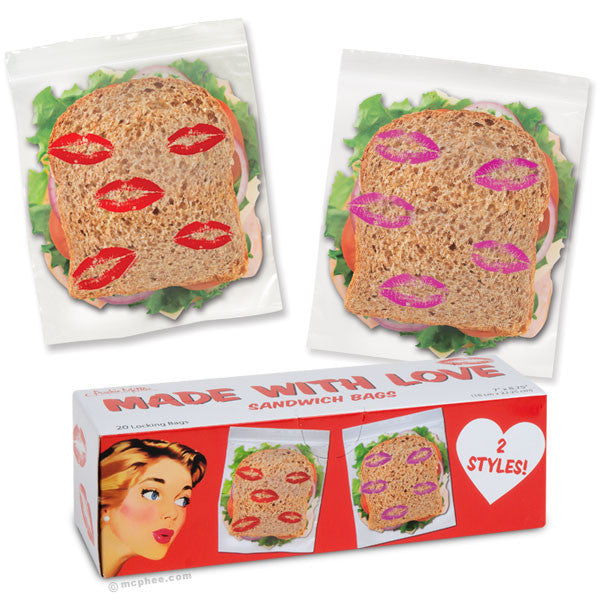 Made With Love Sandwich Bags-Archie McPhee