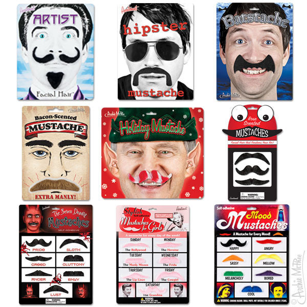 Spooky White Moustache Set Stick-On Party Mustaches 10 pack