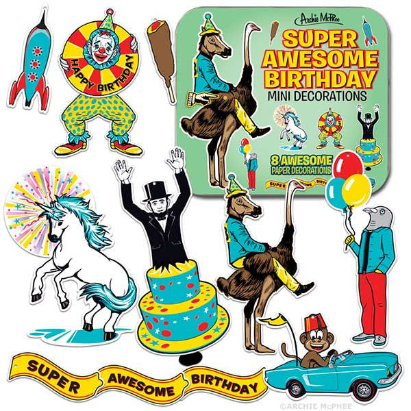 Super Awesome Birthday Mini Decorations-Archie McPhee