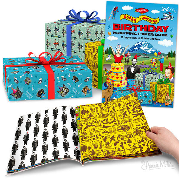 Super Awesome Birthday Wrapping Paper Book Archie McPhee