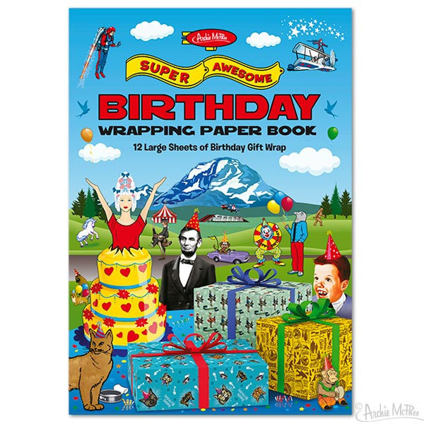 Super Awesome Birthday Wrapping Paper Book-Archie McPhee