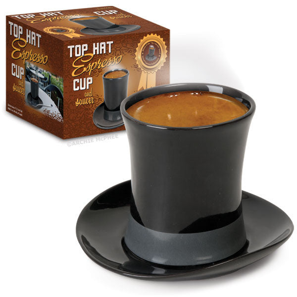 Top Hat Espresso Cup and Saucer-Archie McPhee