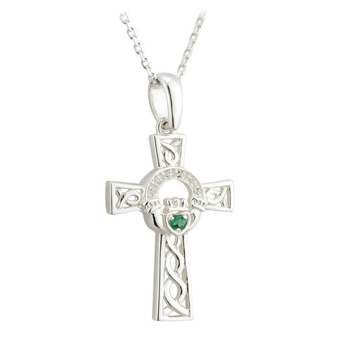 STERLING SILVER CRYSTAL CLADDAGH CROSS PENDANT