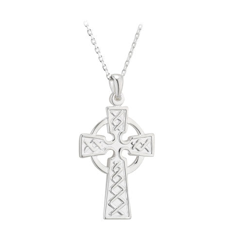 STERLING SILVER CELTIC CROSS DOUBLE SIDED PENDANT ON A CHAIN