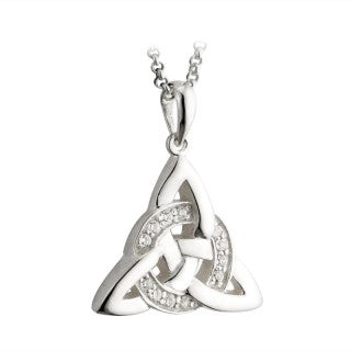 STERLING SILVER CZ CELTIC KNOT PENDANT ON A CHAIN