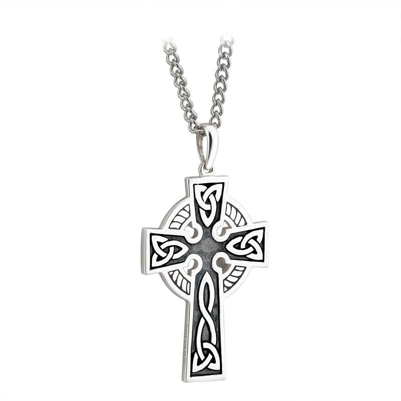 STERLING SILVER DOUBLE SIDE CROSS ON A STEEL CHAIN