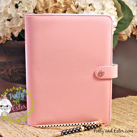 Personal Planner Notebook Binder, Pink Leather