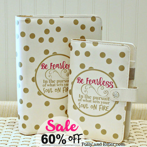 A5 Planner Notebook, 60% OFF Clearance Sale, Be Fearless Quote, Ivory & Gold Dot