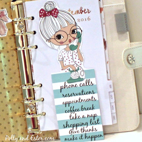 "Planner Girl Bookmark, ""Page Peeper"", ESTER On PHONE Bookmark, Paper Bookmark, Page Markers, Journal Bookmark, Cute Bookmark, Erin Condren"