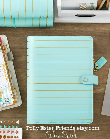 A5 Planner Binder, Light Blue with Gold Stripes Notebook Ring Binder