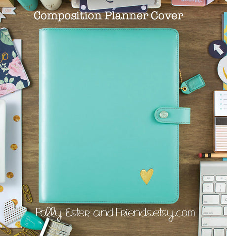 Composition Planner Cover Light Teal Leather Cover with Composition Notebook
