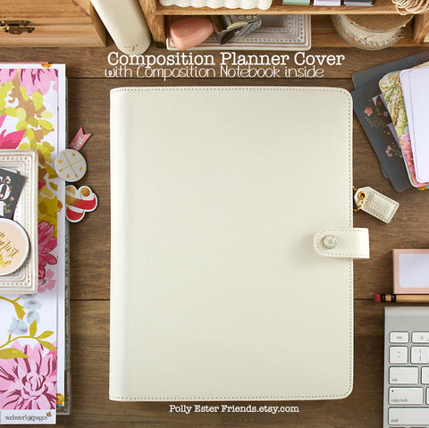 Composition Planner Cover Ivory Leather with Composition Notebook