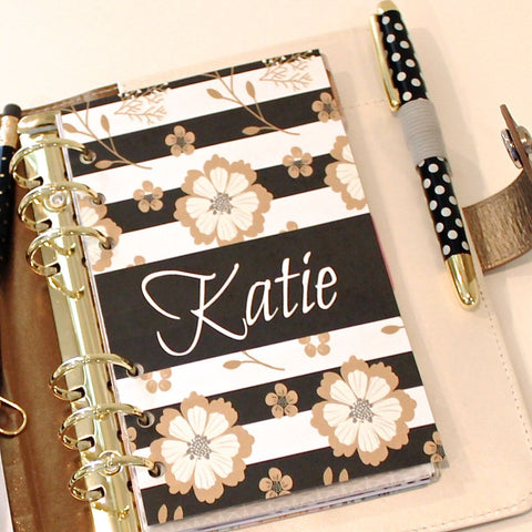 Planner Dashboard, Personalized Black and Gold Floral Stripe