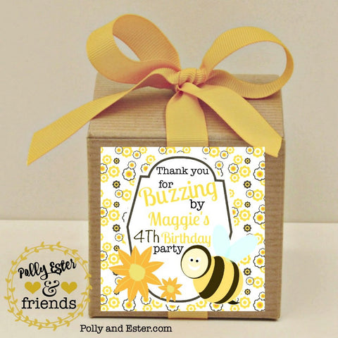 Bumble Bee Party Favor Boxes With Personalized Labels And Ribbon