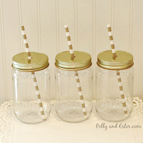 Plastic Mason Jars with Straw Hole Lids