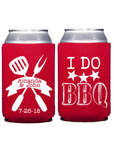 I DO BBQ Koozies, Beer Koozies, Beer Can Cooler, I Do BBQ Couples Shower, Wedding Rehearsal Party, Wedding Favors