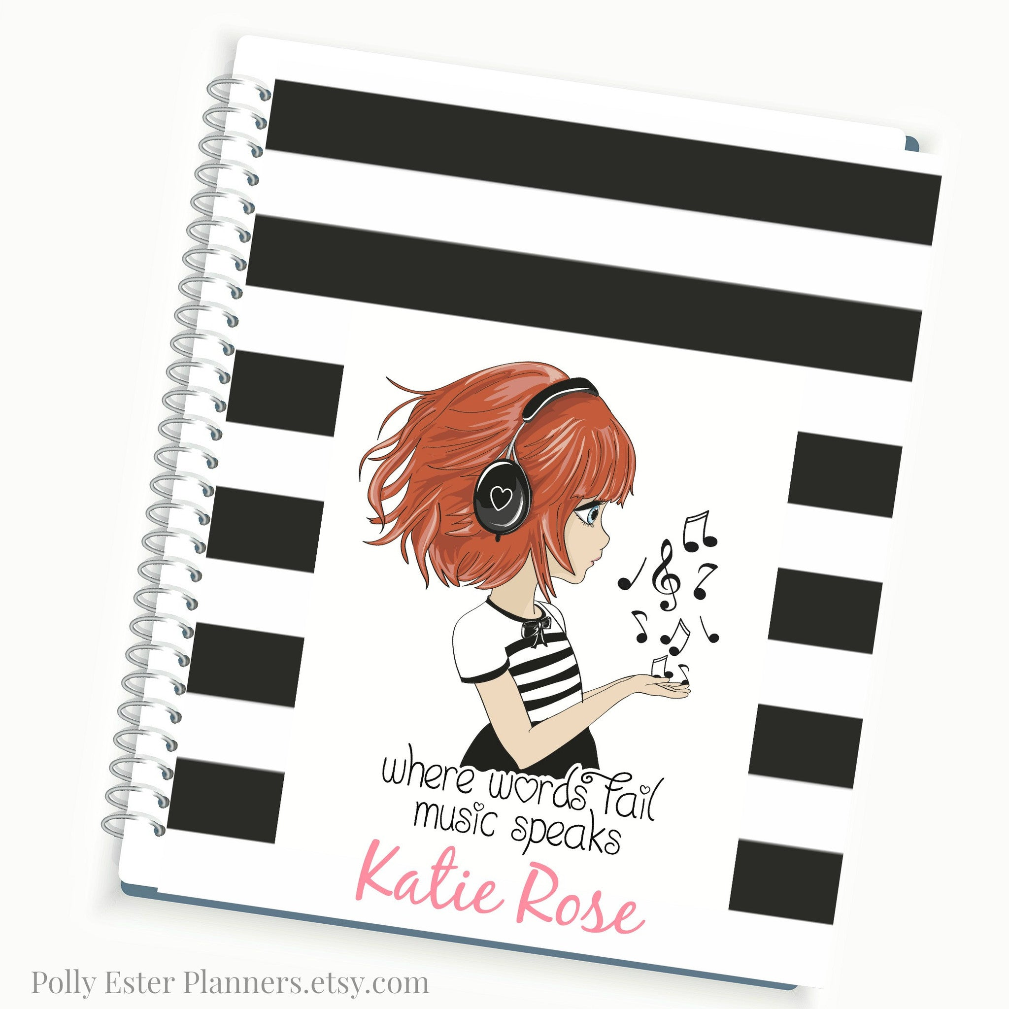 Spiral Planner, 2017 Personalized Planner, Musical Girl Quote On Black  Stripe