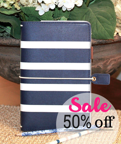 SALE 50% OFF Travelers Notebook Cover, Navy Stripe Travelers Planner Notebook