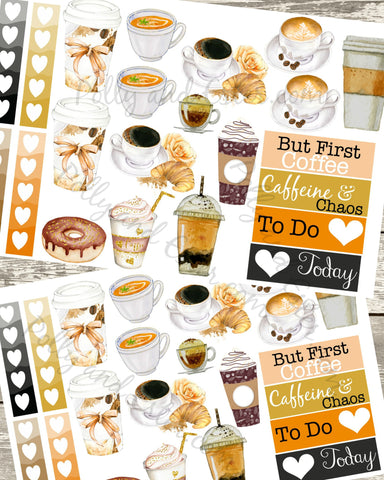 BUT FIRST COFFFE Planner Stickers, Coffee Stickers, Coffee Cup Sticker, Printable Stickers, Erin Condren Stickers, Color Crush Stickers