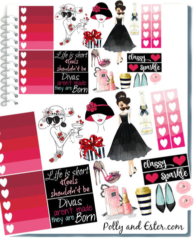 GLAM GIRL PLANNER Stickers for Erin Condren Planner, Happy Planner, Color Crush, Printable Stickers, Fashion Girl Sticker