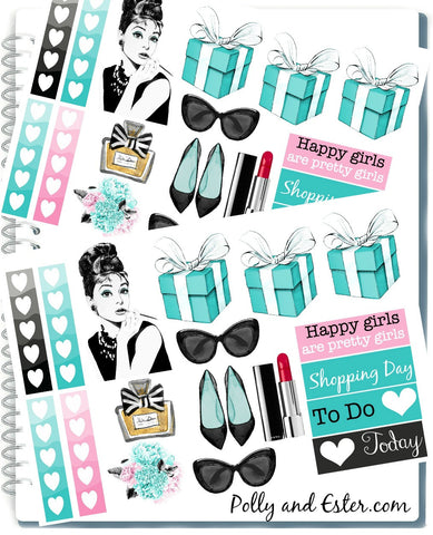 Planner Stickers, Fashion Girl Stickers, Glam Planner, Breakfast At Tiffany's, Girly Stickers, Erin Condren Planner Stickers, Cute Sticker