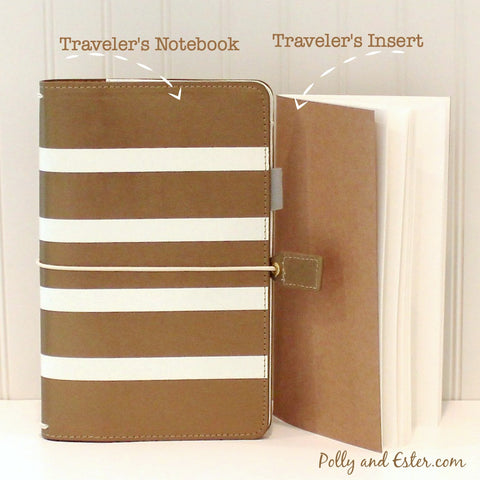 Travelers Notebook, Copper Gold Stripe with FREE Traveler's Insert