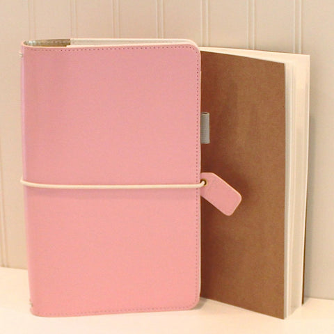Travelers Notebook, Pink Travelers Cover with FREE Traveler's Insert