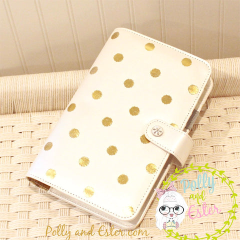 Personal Size Metallic Gold Dot Notebook Planner