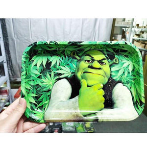 Cartoon Leaves 270*180 Mm Large Metal Cigarette Smoking Rolling Tray Tinplate Plate Discs For Smoke Cigarette Paper Rolling Tray