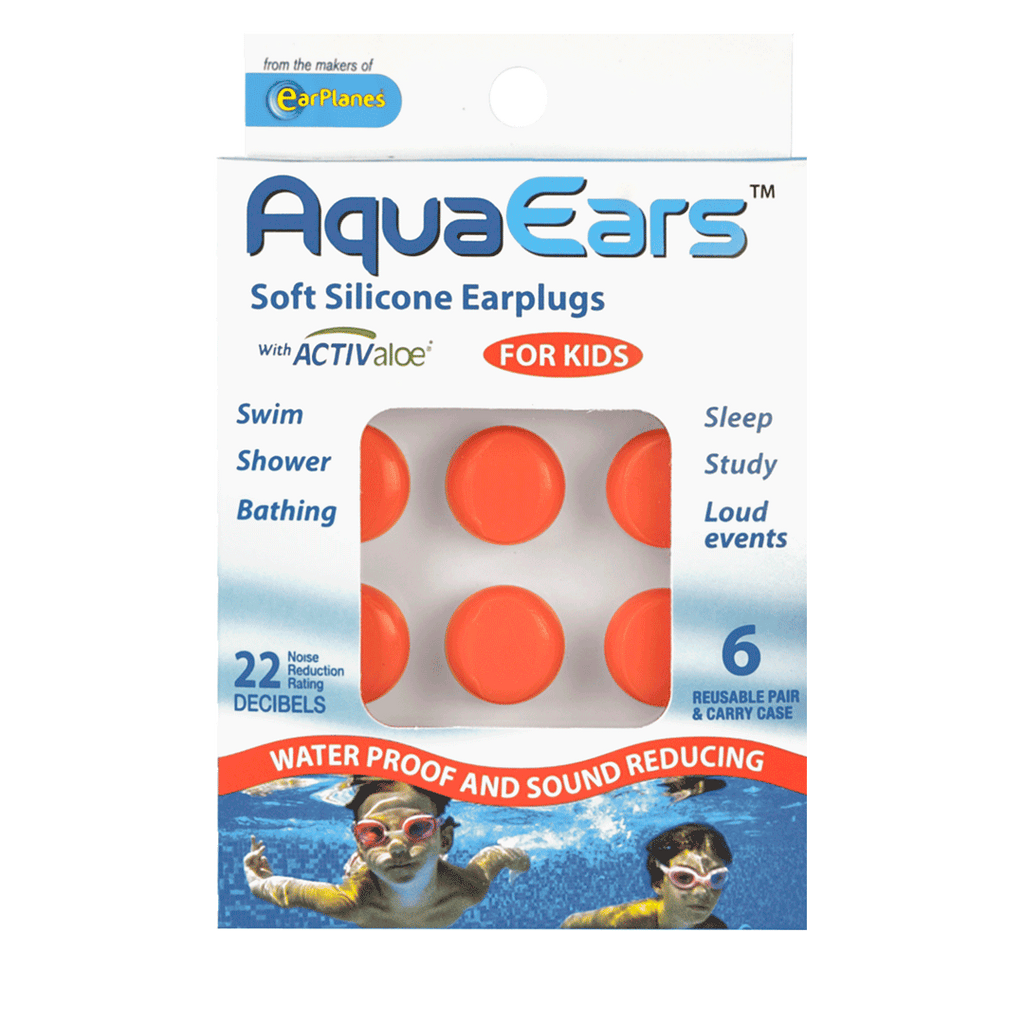 AquaEars® Kids Soft Silicone Earplugs packaging front
